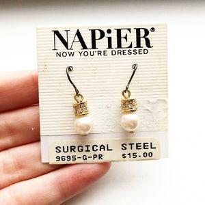 Vintage Napier gold & pearl drop earrings